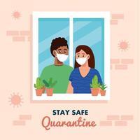 Quédese en casa, cuarentena o autoaislamiento, fachada de la casa con ventana y pareja joven mirar fuera de casa, mantenerse a salvo concepto de cuarentena vector