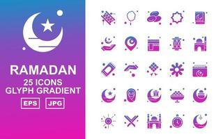 25 Premium Ramadan Glyph Gradient Icon Pack vector