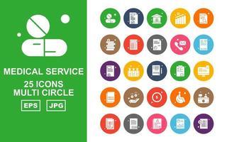 25 Premium Medical Service Multi Circle Icon Pack vector