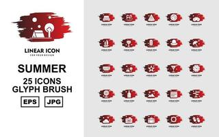 25 Premium Summer II Glyph Brush Icon Pack vector