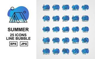 Paquete de 25 iconos de burbujas de línea de verano premium