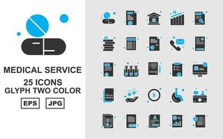 25 Premium Medical Service Glyph Two Color Icon Pack vector