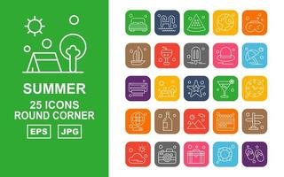 25 Premium Summer II Round Corner Icon Pack vector