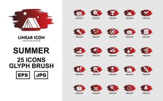 25 Premium Summer Glyph Brush Icon Pack vector