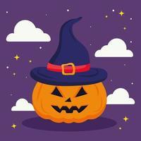 halloween pumpkin cartoon with clouds vector design