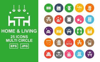 25 Premium Home And Living Multi Circle Icon Pack