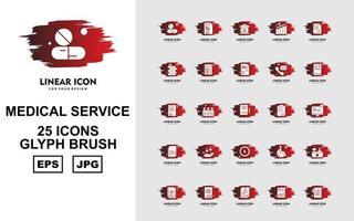 25 Premium Medical Service Glyph Brush Icon Pack vector