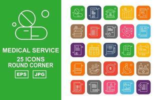 25 Premium Medical Service Round Corner Icon Pack vector