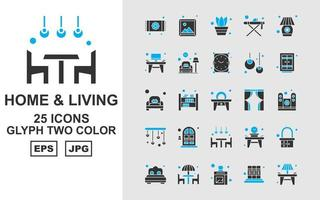 25 Premium Home And Living Glyph Two Color Icon Pack
