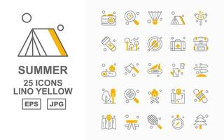 Paquete de 25 iconos premium amarillo lino de verano