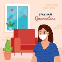 quedarse en casa, cuarentena o autoaislamiento, mujer con máscara médica en la casa, mantenerse a salvo concepto de cuarentena vector