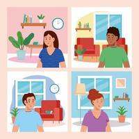 set scenes of young people house indoor vector