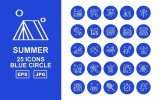 25 Premium Summer Blue Circle Icon Pack vector