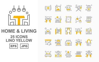 25 Premium Home And Living Lino Yellow Icon Pack