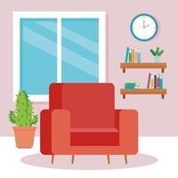 Interior de la sala de estar de la casa, con sofá y decoración. vector