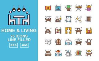 25 Premium Home And Living Line Filled Icon Pack