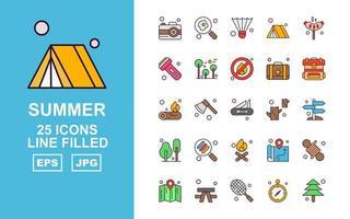 Paquete de 25 iconos premium llenos de línea de verano