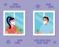 Quédese en casa, cuarentena o autoaislamiento, fachada de la casa con ventanas y la pareja mira fuera de casa, manténgase a salvo concepto de cuarentena vector