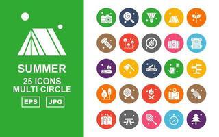 25 paquete de iconos de múltiples círculos de verano premium