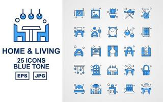 25 Premium Home And Living Blue Tone Icon Pack