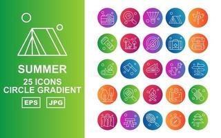 25 paquete de iconos de gradiente de círculo de verano premium