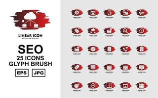 25 Premium SEO Glyph Brush Icon Pack vector