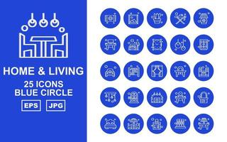 25 Premium Home And Living Blue Circle Icon Pack