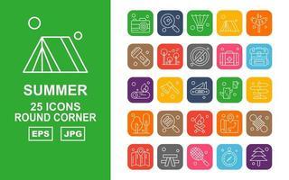 25 paquete de iconos premium de esquina redonda de verano