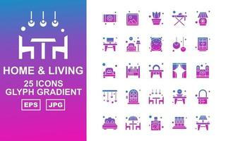 25 Premium Home And Living Glyph Gradient Icon Pack