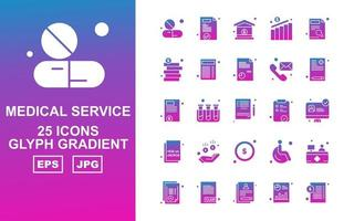 25 Premium Medical Service Glyph Gradient Icon Pack vector