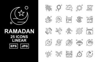 25 Premium Ramadan Linear Icon Pack vector