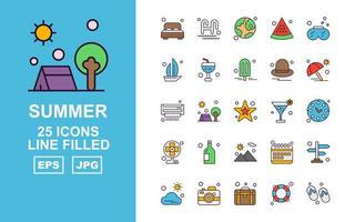 25 Premium Summer II Line Filled Icon Pack vector
