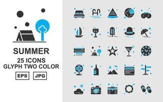25 paquete de iconos de dos colores de glifos premium de verano ii