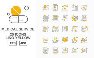 25 Premium Medical Service Lino Yellow Icon Pack vector