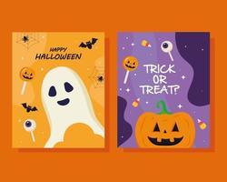 calabaza de halloween y dibujos animados de fantasmas diseño vectorial vector