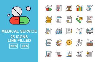 25 Premium Medical Service Line Filled Icon Pack vector