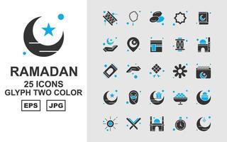 25 Premium Ramadan Glyph Two Color Icon Pack vector