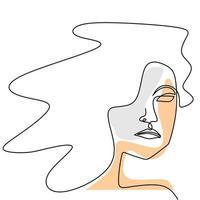 cara de mujer dibujo de una línea. Resumen hermosa dama diseño minimalista estilo continuo. vector