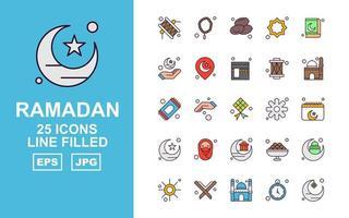 25 Premium Ramadan Line Filled Icon Pack vector