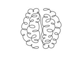 silueta de diseño de cerebro de una línea. implantes cerebrales. implantes neurales.