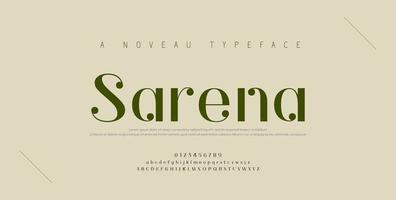 Elegant alphabet letters font and number set vector
