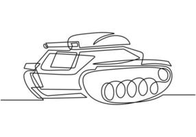 One continuous line drawing of Tank. An armored fighting vehicle designed for front-line combat and war. vector