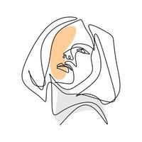 vector ilustración de moda abstracta de un dibujo lineal de mujer.