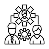 Compañeros de trabajo hombres con diseño de vector de icono de estilo de línea de engranajes