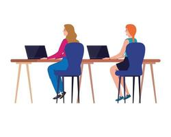 women cartoons with laptops at desk working vector design