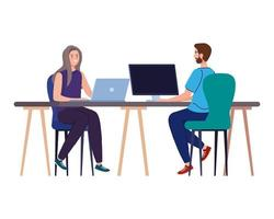Man and woman cartoons with laptop and computer at desk working vector design