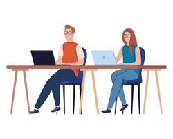 Man and woman cartoons with laptops at desk working vector design