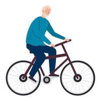 dibujos animados de hombre senior montando bicicleta diseño vectorial vector