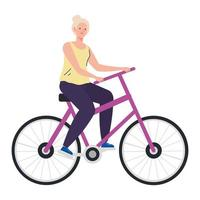 dibujos animados de mujer senior montando bicicleta diseño vectorial vector