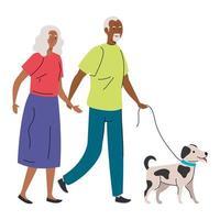 Dibujos animados de mujer y hombre senior con diseño de vector de perro